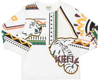 Kenzo Kids Logo Printed Cotton Jersey T-Shirt
