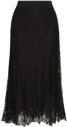 Dolce & Gabbana Fluted Lace Midi Skirt