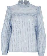 River Island Womens Light blue broderie high neck long sleeve top
