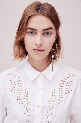 Rebecca Taylor Tailored Embroidered Poplin Top