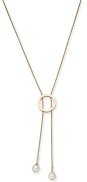 """Alfani Imitation Pearl Circle Lariat Necklace, 34"""" + 2"""" extender, Created for Macy's"""