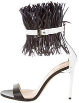 Reed Krakoff Feather-Accented Leather Sandals w/ Tags