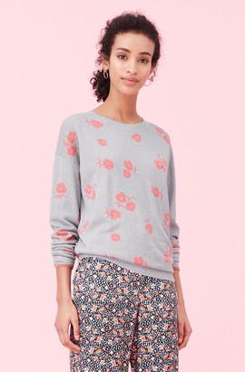 Rebecca Taylor Coral Fleur Jacquard Pullover