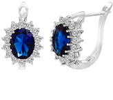 Bliss Sapphire & Cubic Zirconia Oval Cut Halo Huggie Earrings