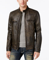 Lucky Brand Men's Café Racer Leather Moto Jacket