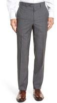 Santorelli Men's Flat Front Check Virgin Wool Trousers