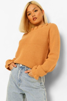 boohoo Petite Knitted Frill Cuff and Neck Jumper