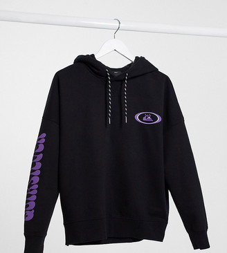 Quiksilver Boxy Fleeced hoodie in washed black Exclusive at ASOS