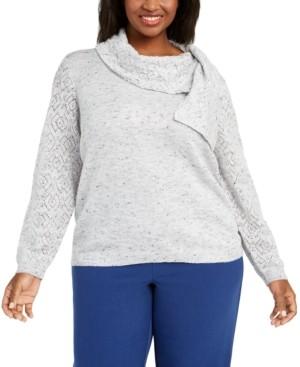 Alfred Dunner Plus Size Lake Geneva Scarf-Neck Sweater
