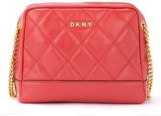 DKNY Sofia Dbl Diamond Shoulder Bag In Shiny Red Quilted Leather
