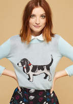 Mcs1100 From one animal enthusiast to another, we simply must implore you to try out this grey sweater from our ModCloth namesake label! Framed by pale blue sleeves and a ribbed crew neck, this pullover features a black-and-white intarsia dog that'll have you rol