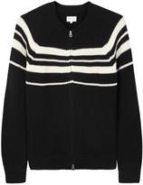 Gant Rugger Black Striped Ribbed Cotton Cardigan