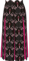 Valentino Love Blades Silk-paneled Printed Wool-blend Midi Skirt - Black