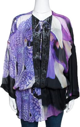 Roberto Cavalli Purple Floral Printed Silk Sequin Embellished Sheer Tunic L