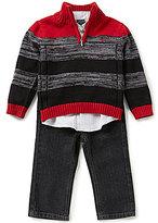 Nautica Baby Boys 12-24 Months Striped Half-Zip Sweater, Woven Shirt, and Denim Jeans Set