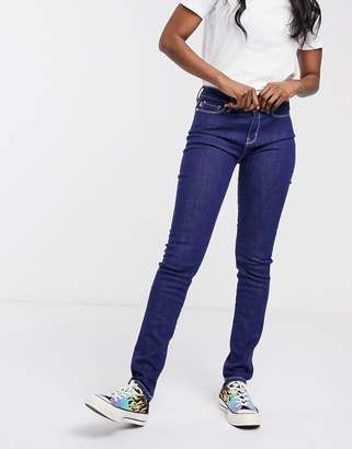 Love Moschino start embroidered logo skinny jeans-Navy