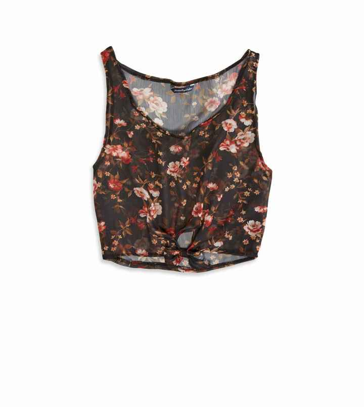 American Eagle AE Effortlessly Chic Crop Chiffon Tank