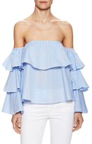 Cotton Tiered Off Shoulder Blouse