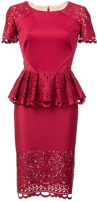 Marchesa Laser-Cut Peplum Midi Dress