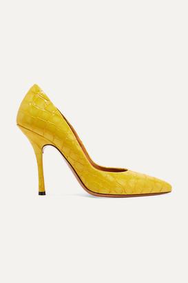 Dries Van Noten Croc-effect Patent-leather Pumps - Yellow