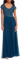 J Kara Scoop Neck Beaded Column Gown