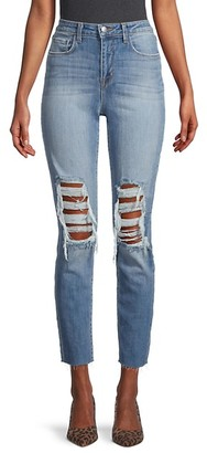 L'Agence Luna High-Rise Ripped Slim Straight Ankle Jeans