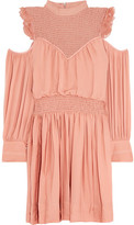 Cinq à Sept Shahla Cold-Shoulder Ruffled Silk Mini Dress