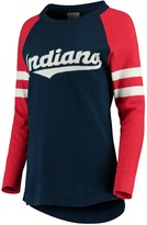 Unbranded Women's Navy Cleveland Indians Stripe Long Sleeve Tunic T-Shirt