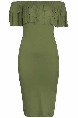 Fashion Star Womens Off Shoulder Short Sleeve Bodycon Dress Blue Medium (UK 10)