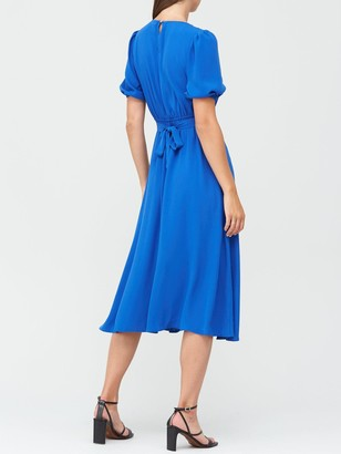Very V-Neck Tie Back Midi Dress - Blue