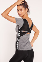 Missguided Active Grey V-Neck WRK IT Sports Top