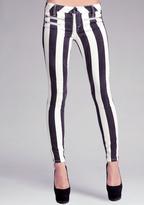 Striped Multi Zip Skinny Jeans