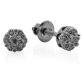 Ice 10K Black Gold Stud Earrings with Black Diamond Accents