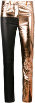 Haider Ackermann Black Rose Gold Leather Trousers - women - Cotton/Leather - 36