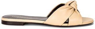 Saint Laurent Bianca Flat Sandals in Beige Cotton | FWRD