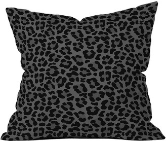 Deny Designs Avenie Leopard Print Black Square Throw Pillow