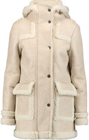 Maje Faux brushed-suede and shearling hooded coat