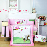 9 Pieces Beautiful Owl Baby Crib Cot Bedding Quilt Set