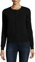 Neiman Marcus Cashmere Basic Button-Up Cardigan, Black