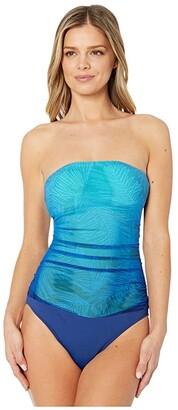 Lauren Ralph Lauren Ombre Palm Bandeau Underwire One-Piece (Blue) Women's Swimsuits One Piece