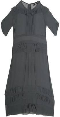 Sonia Rykiel Grey Silk Georgette Ruffle Detail Sheer Midi Dress S