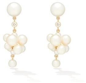Sophie Bille Brahe Botticelli Diamond, Pearl & 14kt Gold Earrings - Pearl