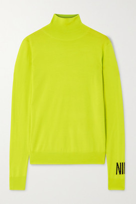 Nina Ricci Intarsia Wool Turtleneck Sweater - Lime green