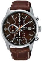 Lorus Mens Brown Leather Strap Chronograph Watch