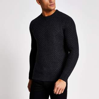 Superdry Mens River Island Grey cable knitted jumper