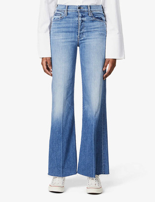 Mother The Tomcat Roller frayed high-rise stretch-denim jeans