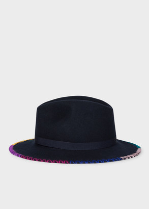 Paul Smith Women's Navy Wool Fedora Hat With Stitching Detail