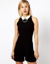 Asos Playsuit With Statement Necklace Detail