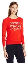 """Lacoste Women's Long Sleeve """"Sports D'hiver""""Graphic Wool Sweater"""