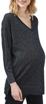 Topshop Women's Slash Neck Metallic Maternity Sweater